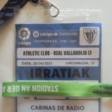 Coleccionismo deportivo: ENTRADA PASE FÚTBOL ATHLETIC BILBAO VALLADOLID 20 21 SIN PÚBLICO. Lote 283937248