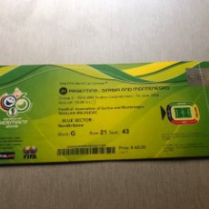 Coleccionismo deportivo: TICKET DEBUT LIONEL MESSI WC 2006 1ST GOAL. Lote 284350748