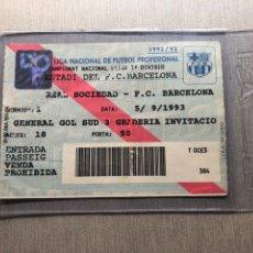 Coleccionismo deportivo: 1992 ROMARIO TICKET ENTRADA DEBUT FC BARCELONA. Lote 285513098
