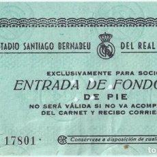 Coleccionismo deportivo: ENTRADA DE FONDO SUR - REAL MADRID CLUB DE FUTBOL - ESTADIO SANTIAGO BERNABEU (AÑOS 50). Lote 288353273