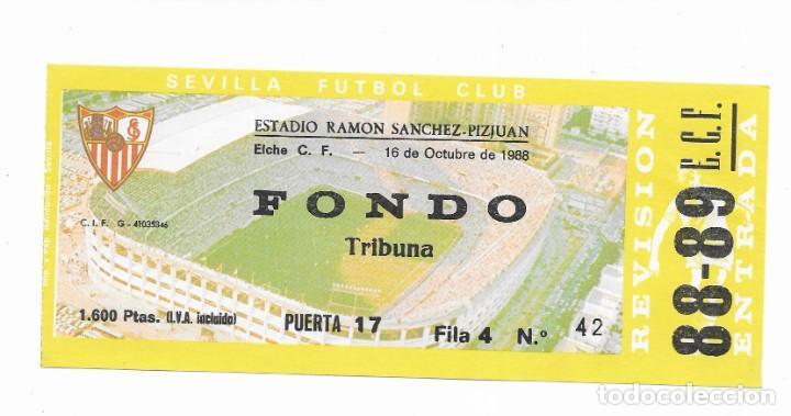 ENTRADA ANTIGUA- ESTADIO RAMÓN SÁNCHEZ PIZJUAN- ELCHE C. F. - 16 DE OCTUBRE DE 1988 (Coleccionismo Deportivo - Documentos de Deportes - Entradas de Fútbol)