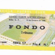 Coleccionismo deportivo: ENTRADA ANTIGUA- ESTADIO RAMÓN SÁNCHEZ PIZJUAN- ELCHE C. F. - 16 DE OCTUBRE DE 1988. Lote 288561923