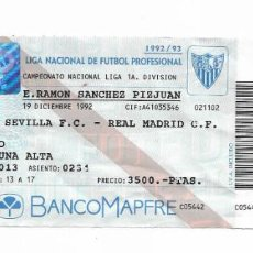Coleccionismo deportivo: ENTRADA ANTIGUA- ESTADIO RAMÓN SÁNCHEZ PIZJUAN- SEVILLA F.C. - REAL MADRID - 19 DICIEMBRE 1992. Lote 288562498