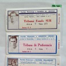 Coleccionismo deportivo: ENTRADAS DE FUTBOL-HOMENAJES R.MADRID. Lote 293180243
