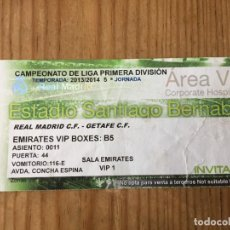 Coleccionismo deportivo: R15529 ENTRADA TICKET FUTBOL REAL MADRID 4-1 GETAFE (22-9-2013) GOL 150 CRISTIANO RONALDO. Lote 294163848