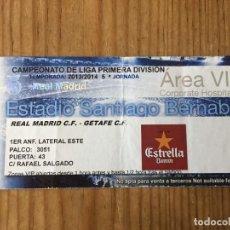 Coleccionismo deportivo: R15530 ENTRADA TICKET FUTBOL REAL MADRID 4-1 GETAFE (22-9-2013) GOL 150 CRISTIANO RONALDO. Lote 294163878