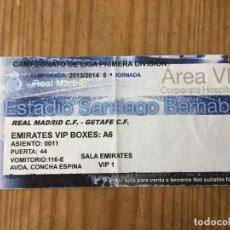 Coleccionismo deportivo: R15531 ENTRADA TICKET FUTBOL REAL MADRID 4-1 GETAFE (22-9-2013) GOL 150 CRISTIANO RONALDO. Lote 294163933
