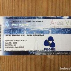 Coleccionismo deportivo: R15533 ENTRADA TICKET FUTBOL REAL MADRID 5-1 REAL SOCIEDAD (9-11-2013) HAT TRICK CRISTIANO RONALDO. Lote 294164158