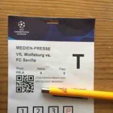 Coleccionismo deportivo: R15541 ENTRADA TICKET PASE PRENSA FUTBOL WOLSFURGO SEVILLA UEFA CHAMPIONS LEAGUE 2021 2022. Lote 294167143
