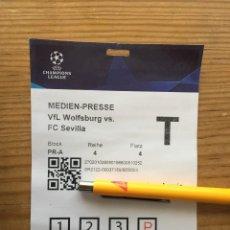 Coleccionismo deportivo: R15542 ENTRADA TICKET PASE PRENSA FUTBOL WOLSFURGO SEVILLA UEFA CHAMPIONS LEAGUE 2021 2022. Lote 294167268