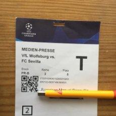 Coleccionismo deportivo: R15543 ENTRADA TICKET PASE PRENSA FUTBOL WOLSFURGO SEVILLA UEFA CHAMPIONS LEAGUE 2021 2022. Lote 294167278
