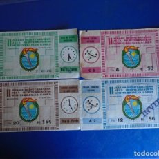 Coleccionismo deportivo: (FE-29)LOTE DE 4 ENTRADAS DE FUTBOL - II JUEGOS MEDITERRANEOS - JULIO 1955. Lote 295428253