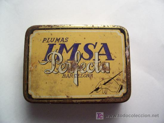 Escribanía: cajita metalica de plumas marca imsa perfecta, industrias metalicas s.a. barcelona (5,6x7,5cm aprox) - Foto 2 - 22332520