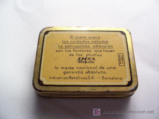 Escribanía: cajita metalica de plumas marca imsa perfecta, industrias metalicas s.a. barcelona (5,6x7,5cm aprox) - Foto 3 - 22332520