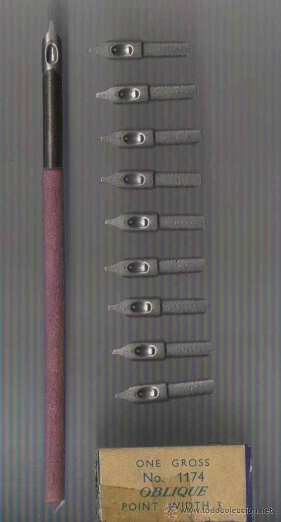 5.5 MODELO 5 CONJUNTO DE PALILLERO Y 10 PLUMILLAS PERRY ROUND HAND PEN Nº 1174 OBLIQUE (Plumas Estilográficas, Bolígrafos y Plumillas - Plumillas y Otros Elementos de Escribanía)