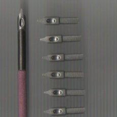 Scrivania: 5.5 MODELO 5 CONJUNTO DE PALILLERO Y 10 PLUMILLAS PERRY ROUND HAND PEN Nº 1174 OBLIQUE. Lote 95047022