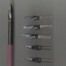 Scrivania: 5.11 MODELO 9 COJUNTO DE PALILLERO Y 10 PLUMILLAS BRAUSE & Cº ISERLOHN ORNAMENT Nº 500 1/2 MM. Lote 71192991