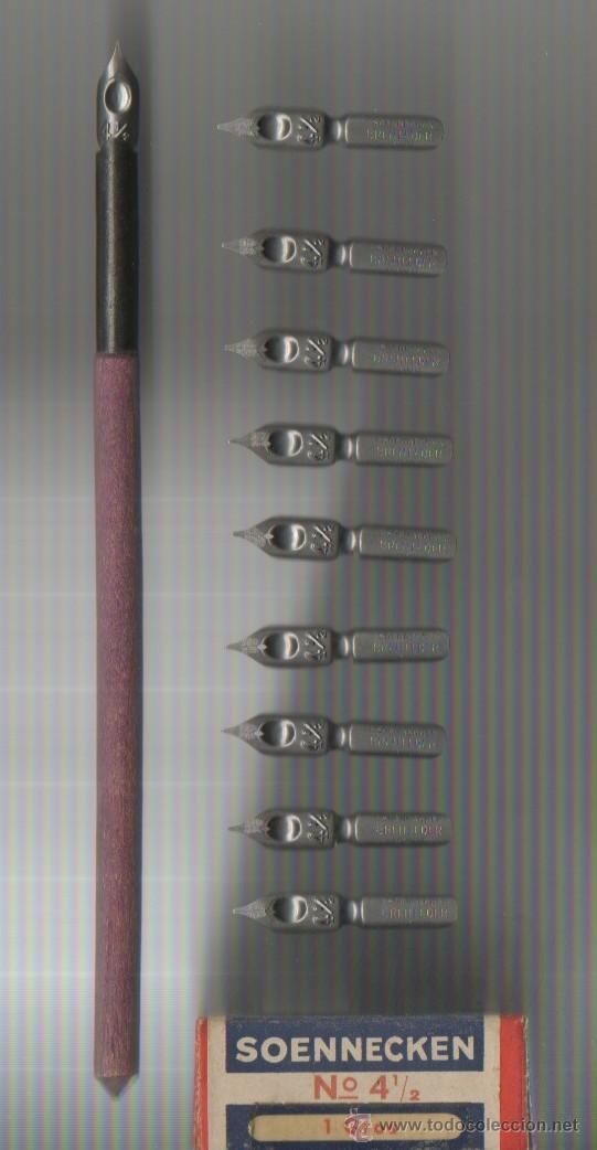 5.8 MODELO 15 CONJUNTO DE PALILLERO Y 10 PLUMILLAS SOENNECKEN Nº 4 1/2 1 GROSS (Plumas Estilográficas, Bolígrafos y Plumillas - Plumillas y Otros Elementos de Escribanía)