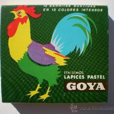 Escribanía: GIN. CAJA DE 12 LÁPICES FINOS DE COLORES PASTEL GOYA - MATERIAL ESCOLAR DE LOS 80. Lote 26360688