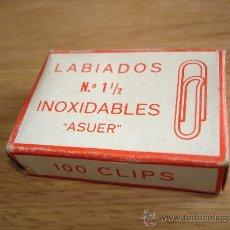 Escribanía: CAJA DE CLIPS LABIADOS Nº 1 1/2 INOXIDABLES - ASUER. Lote 36419018