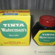 Escribanía: ANTIGUO TINTERO DE CRISTAL WATERMAN'S. CON SU TINTA ORIGINAL DE COLOR VERDE. DE LOS AÑOS 50.. Lote 37630741