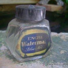 Escribanía: TINTA TINTERO BOTELLA WATERMAN CRISTAL CON SU TAPON. Lote 37911518