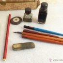 Escribanía: LOTE DE ANTIQUÍSIMOS ARTÍCULOS DE ESCUELA - VEA LA DESCRIPCIÓN COMPLETA. Lote 39975438