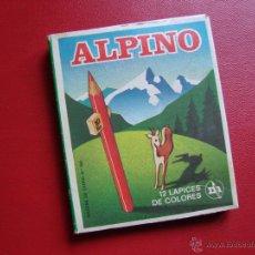 Escribanía: CAJA CON 12 PINTURAS-ALPINO-LÁPICES DE COLORES-NUEVA-VER FOTOS. AÑOS 70. Lote 40703944