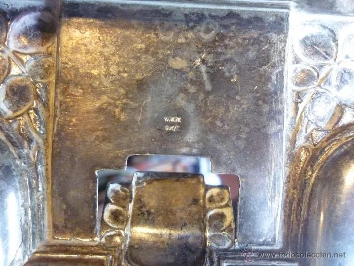 Escribanía: ANTIGUA Y DELICADA ESCRIBANÍA TINTERO Y SECANTE SELLADO WWPF BRONCE PLATEADO - Foto 4 - 42688747