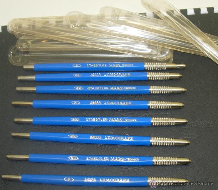 LOTE 8 PORTAMINAS AÑOS 60 STAEDTLER MARS TECHNICO SERIE 48000 LUMOGRAPH B-2B-3B-F-H-4H-5H-6H GERMANY (Plumas Estilográficas, Bolígrafos y Plumillas - Plumillas y Otros Elementos de Escribanía)