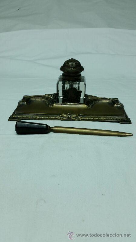 Escribanía: Escribanía en Metal y cristal S. XIX aproxi. - Foto 2 - 43606689