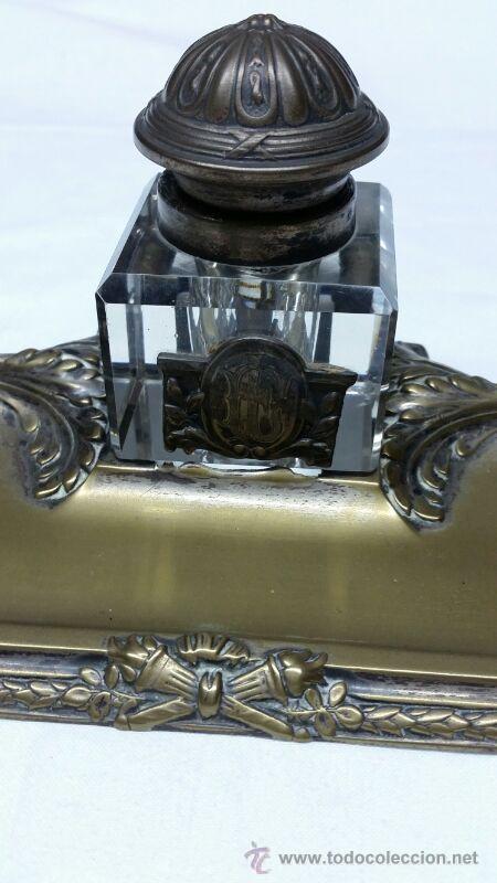 Escribanía: Escribanía en Metal y cristal S. XIX aproxi. - Foto 5 - 43606689