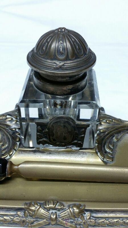Escribanía: Escribanía en Metal y cristal S. XIX aproxi. - Foto 6 - 43606689
