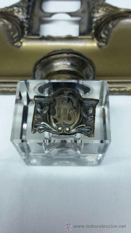 Escribanía: Escribanía en Metal y cristal S. XIX aproxi. - Foto 7 - 43606689
