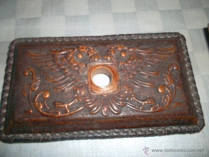Escribanía: sello antiguo hecho en piel muy raro - Foto 3 - 47457156