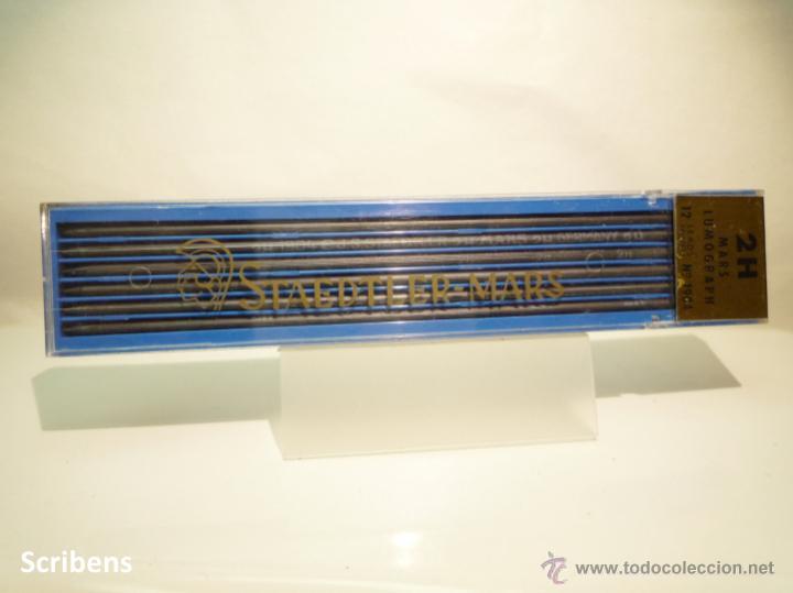 STAEDTLER, ANTIGUA CAJA PORTAMINAS MARS LUMOGRAPH Nº 1904 CON 12 MINAS GRAFITO 2MM. 2H. GERMANY 60'S (Plumas Estilográficas, Bolígrafos y Plumillas - Plumillas y Otros Elementos de Escribanía)