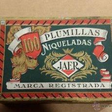 Escribanía: CAJA DE PLUMILLAS JAER CORTE NIQUELADAS PRECINTADA. Lote 48494150