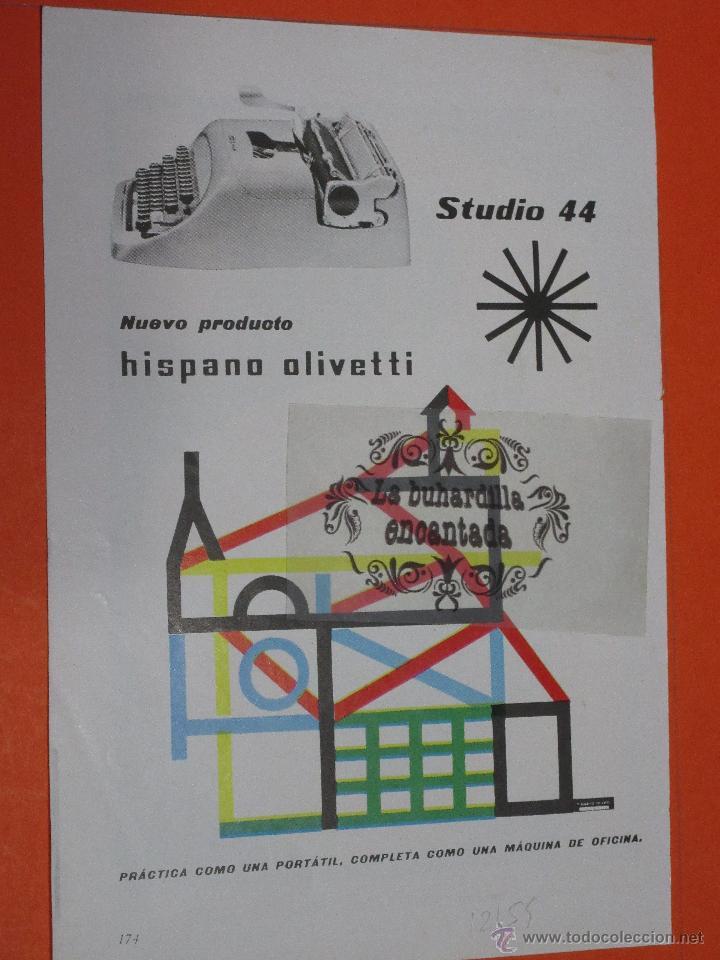 PUBLICIDAD 1959 - COLECCION PLUMAS BOLIS - MAQUINA DE ESCRIBIR HISPANO OLIVETTI STUDIO 44 (Plumas Estilográficas, Bolígrafos y Plumillas - Plumillas y Otros Elementos de Escribanía)