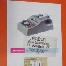 Escribanía: PUBLICIDAD 1957 - COLECCION PLUMAS BOLIS - MAQUINA CALCULADORA ELECTRICA HISPANO OLIVETTI DIVISUMA. Lote 48475974