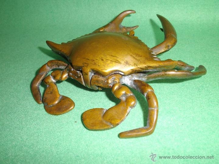 Escribanía: Raro TINTERO bronce cangrejo Nécora pisapapeles Jaiba articulada principios XX mar marino pescador - Foto 4 - 52389931