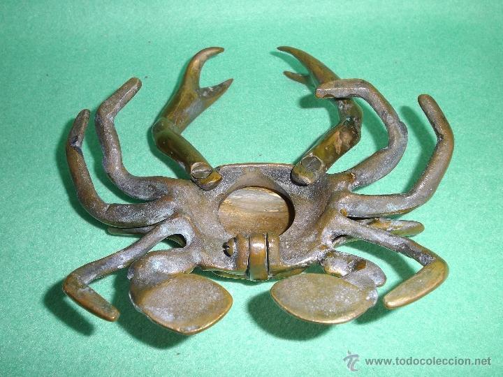 Escribanía: Raro TINTERO bronce cangrejo Nécora pisapapeles Jaiba articulada principios XX mar marino pescador - Foto 5 - 52389931