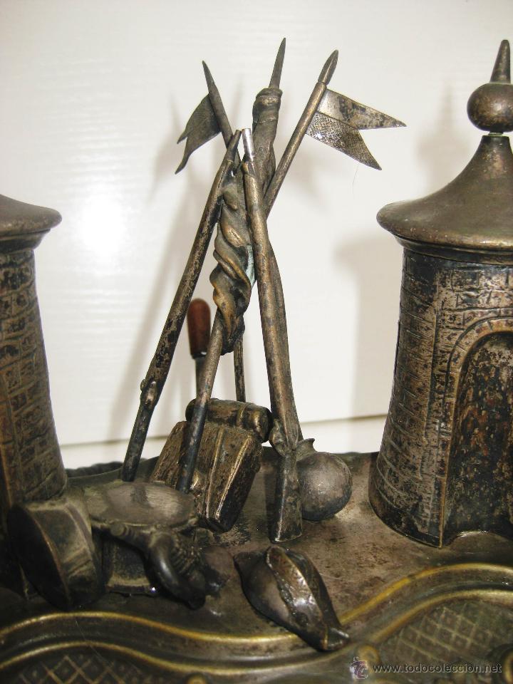 Escribanía: DE MUSEO! ESCRIBANIA FRANCESA CIRCA 1820 NAPOLEON PARIS MILITAR CON TIMBRE CREO QUE PLATA DORADA - Foto 6 - 52613149