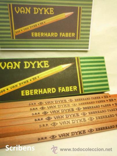 EBERHARD FABER, ANTIGUA CAJA CON 12 LÁPICES GRAFITO VAN DYKE Nº 600 HB. 1930'S (Plumas Estilográficas, Bolígrafos y Plumillas - Plumillas y Otros Elementos de Escribanía)