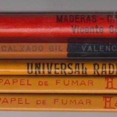 Escribanía: LOTE 5 ANTIGUOS LÁPICES CON PUBLICIDAD PAPES FUMAR BAMBU-UNIVERSAL RADIO ELECTRIC....,AÑOS 60,LAPIZ. Lote 55914380