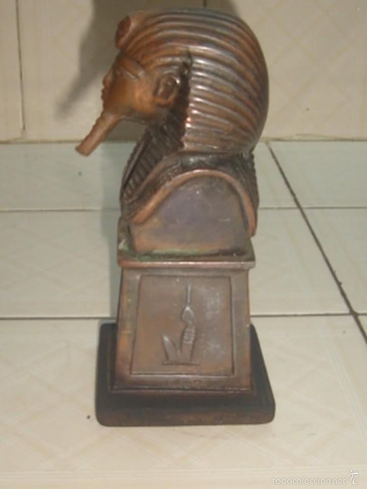 Escribanía: Soporte de libros y pisapapeles con busto metálico de Tutankhamon - Foto 2 - 58675398
