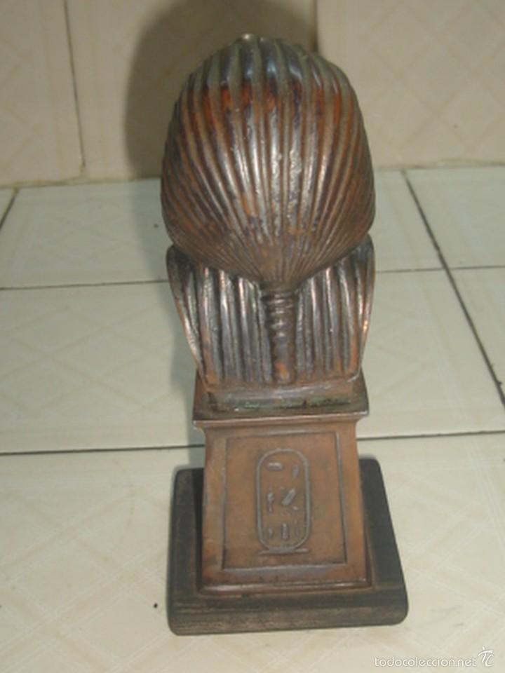 Escribanía: Soporte de libros y pisapapeles con busto metálico de Tutankhamon - Foto 3 - 58675398