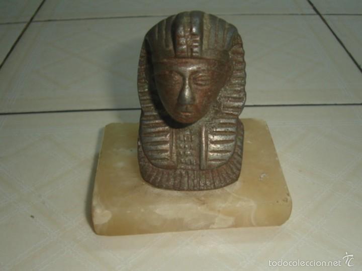Escribanía: Soporte de libros y pisapapeles con busto metálico de Tutankhamon - Foto 4 - 58675398