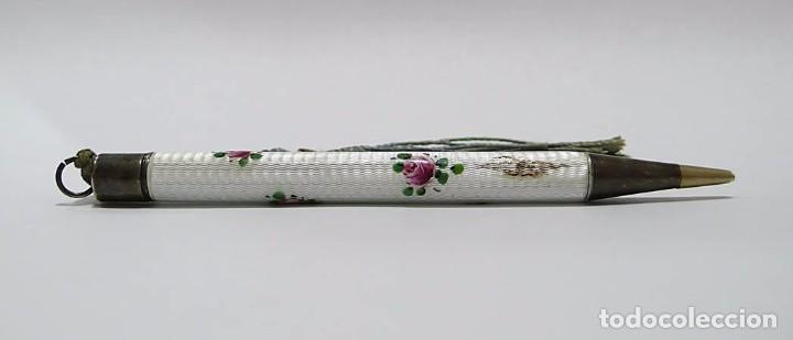 Escribanía: Portaminas de plata y esmalte con dedal a conjunto - Principios S.XX - Foto 2 - 70123981