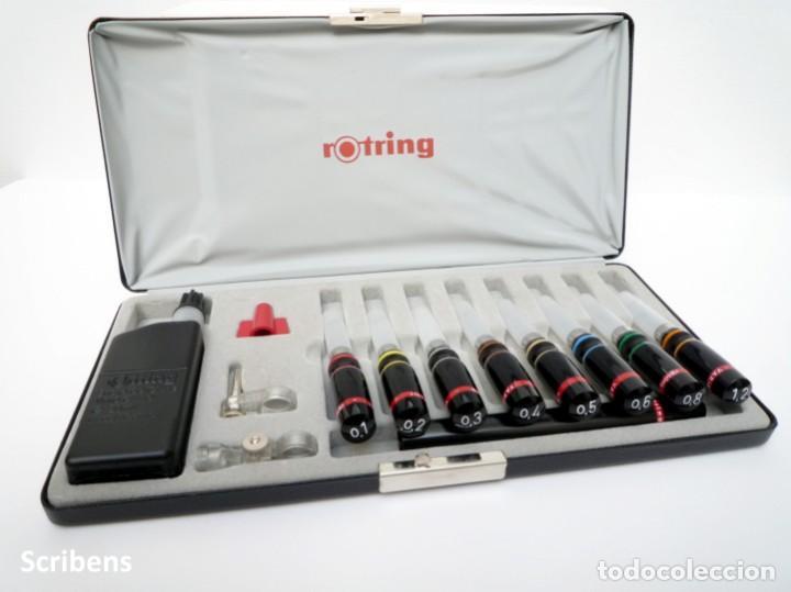 Escribanía: ROTRING, ANTIGUO SET DE 8 ESTILOGRAFOS A TINTA CHINA VARIANT CON ACCESORIOS, NUEVO GERMANY 70'S - Foto 4 - 71058145