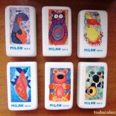 Escribanía: LOTE DE 6 GOMAS DE BORRAR MILAN DE ANIMALES. Lote 134391778